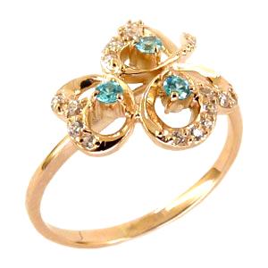 Кольцо из золота с голубыми и белыми фианитами