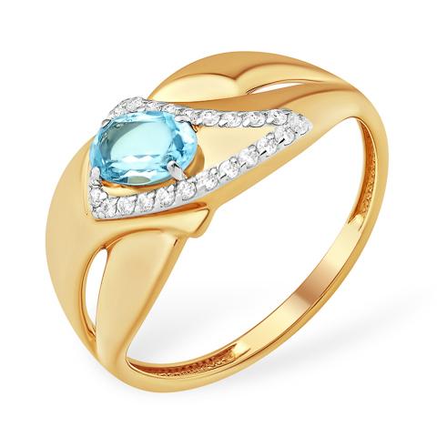 Золотое кольцо с натуральным топазом и фианитами