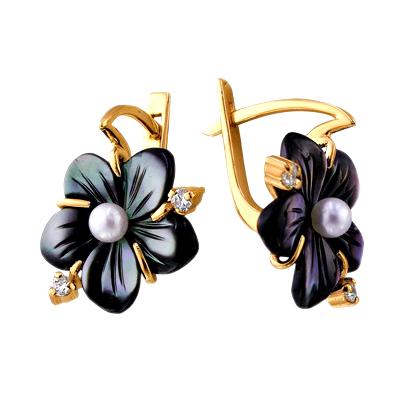"""Серьги из золота """"цветок"""" с черным перламутром, жемчугом и фианитами"""