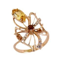 Кольцо из золота с цитринами, гранатом и фианитами
