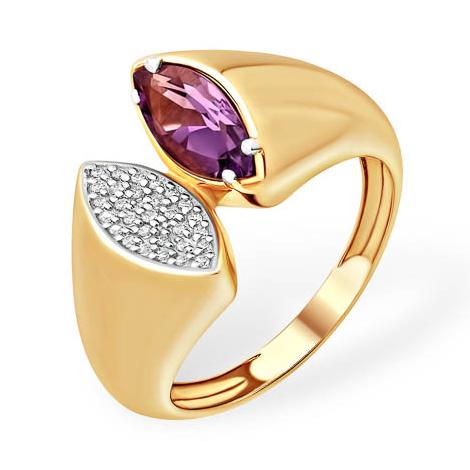 Необычной формы кольцо с аметистом и фианитами