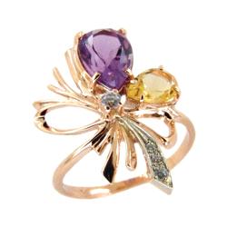 Кольцо из золота с аметистом, цитрином и фианитами