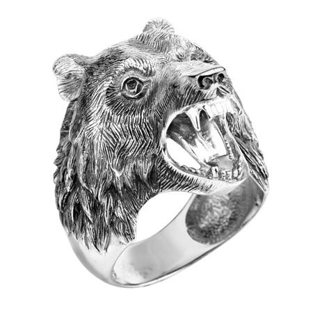 """Мужское кольцо """"Медведь"""" из серебра"""
