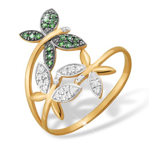 """Кольцо """"бабочки"""" из золота с зелеными и белыми фианитами"""