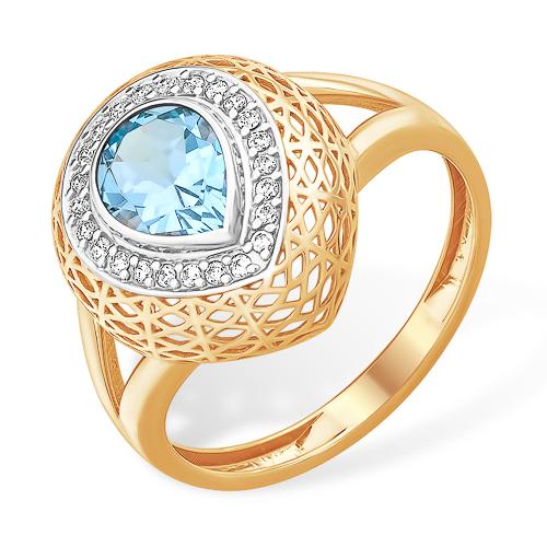 Золотое объёмное кольцо с топазом и фианитами