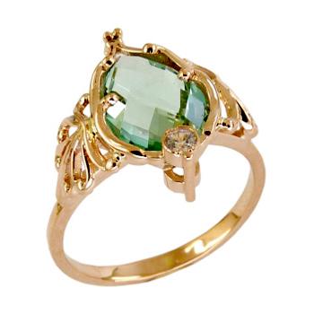 Кольцо из золота с зеленым кварцем и фианитом