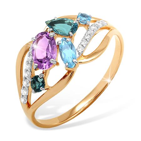 Золотое кольцо с миксом полудрагоценных камней