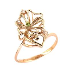 Кольцо из золота с зеленым и белыми фианитами
