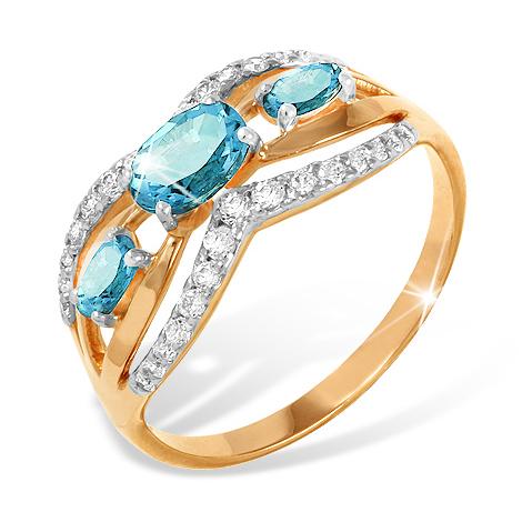 Золотое кольцо с фианитами и топазами