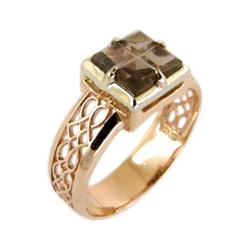 Мужское золотое кольцо с раух-топазом