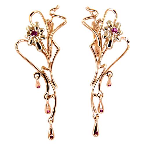 Длинные серьги из золота с розовыми фианитами