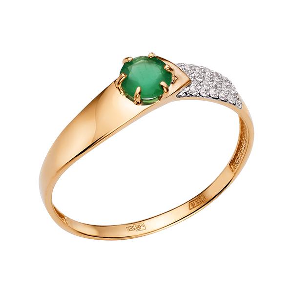 Кольцо с зелёным агатом и фианитами
