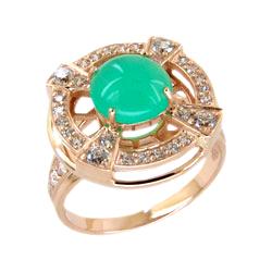 Кольцо из золота с хризопразом и фианитами