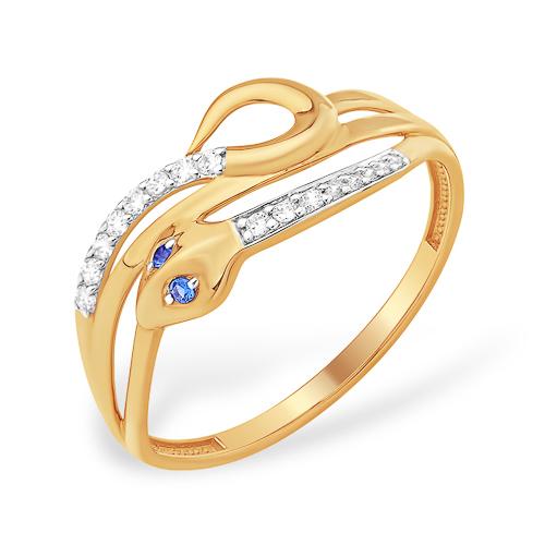 """Кольцо """"змея"""" из золота с синими и бесцветными фианитами"""