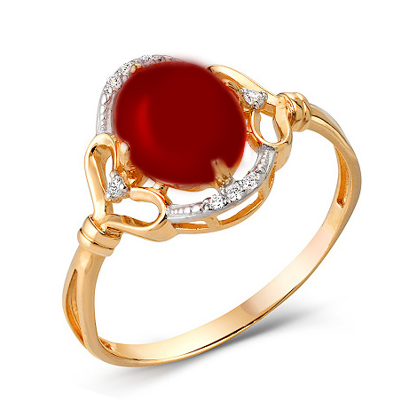 Кольцо из золота с кораллом и фианитами