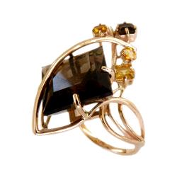 Кольцо из золота с раух-топазами и цитринами
