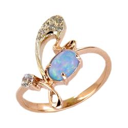 Кольцо из золота с опалом и фианитами