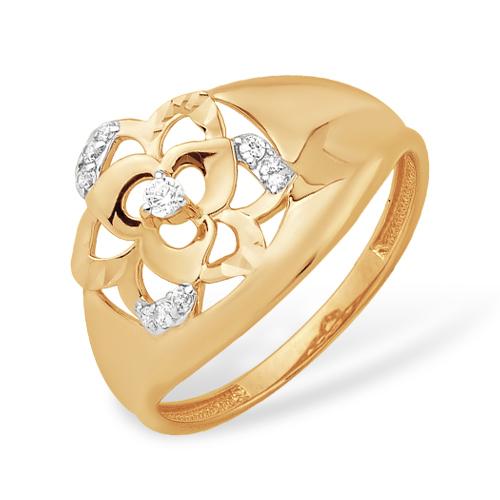 """Золотое кольцо """"роза"""" с фианитами"""