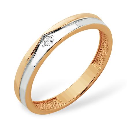 Классическое золотое кольцо с фианитом