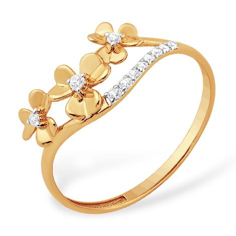 """Нежное кольцо """"цветы"""" из золота с фианитами"""