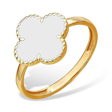 Кольцо в стиле Van Cleef с белой эмалью