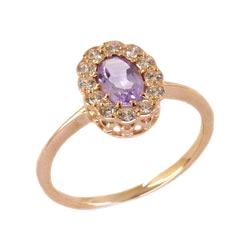 Классическое кольцо из золота с аметистом и фианитами