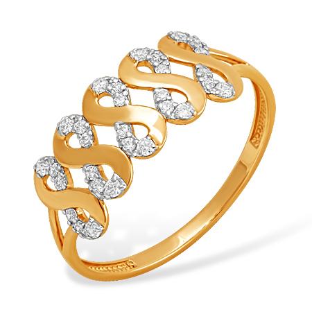 """Золотое кольцо """"восьмёрки"""" с фианитами"""