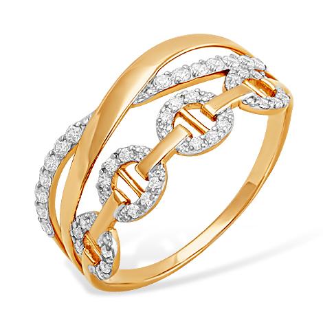 Золотое кольцо-цепь с фианитами