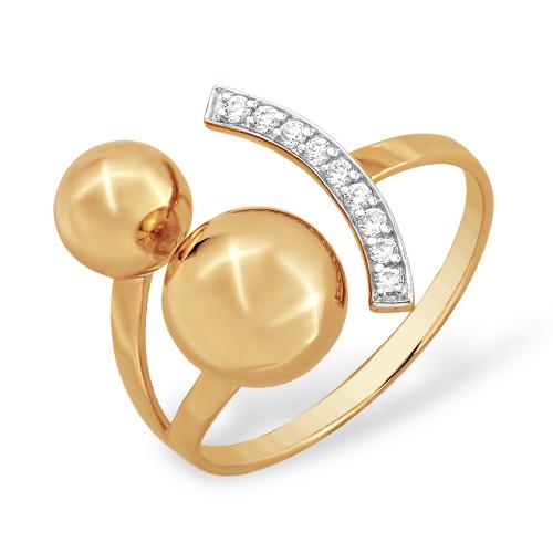 """Кольцо """"шары"""" из золота с фианитами"""