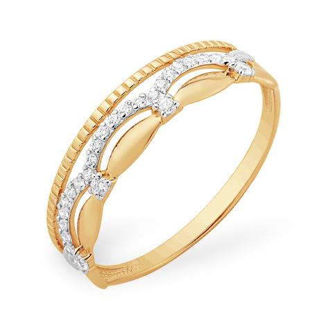 Легкое кольцо с бесцветными фианитами из золота
