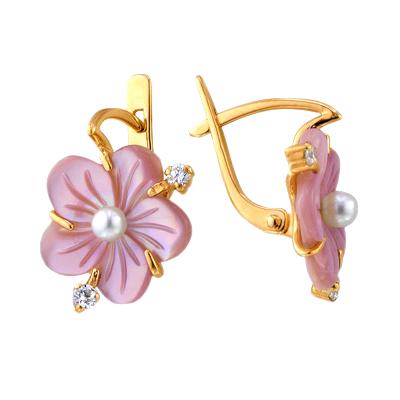 """Золотые серьги """"цветок"""" с розовым перламутром, жемчугом и фианитами"""