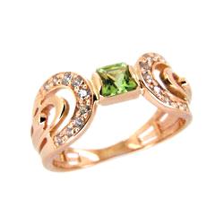 Кольцо из красного золота с хризолитом и фианитами