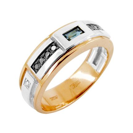 Кольцо из золота с белыми и черными бриллиантами и сапфиром