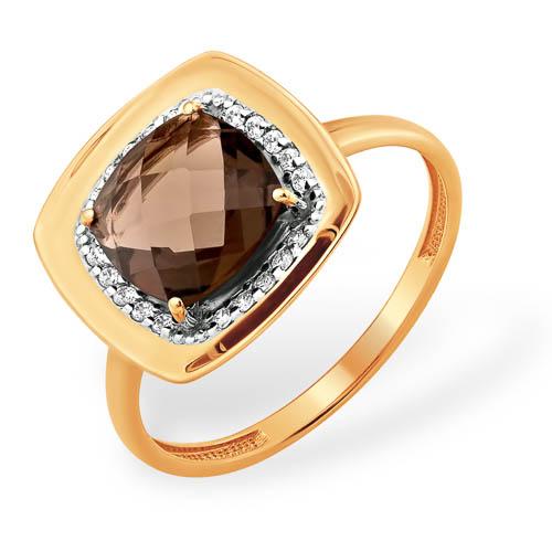 Золотое кольцо с крупным раух топазом и фианитами