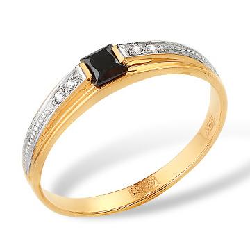Золотое кольцо с черным и белыми фианитами
