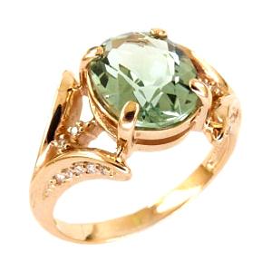 Кольцо из золота с празиолитом и фианитами