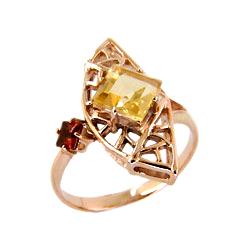 Кольцо из золота с цитрином и гранатом