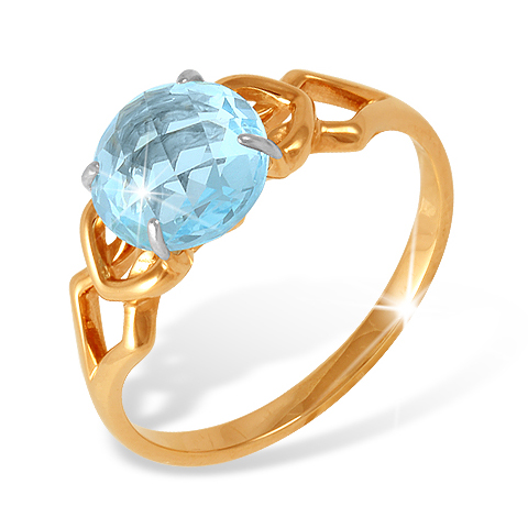 Кольцо из красного золота с топазом