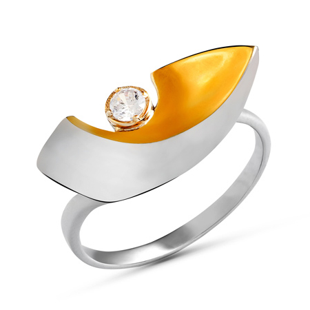 Кольцо оригинальной формы из белого золота