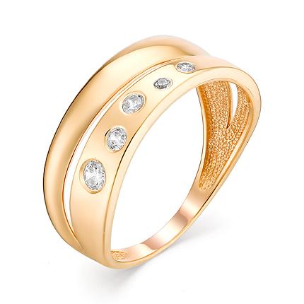 Стильное широкое кольцо с фианитами