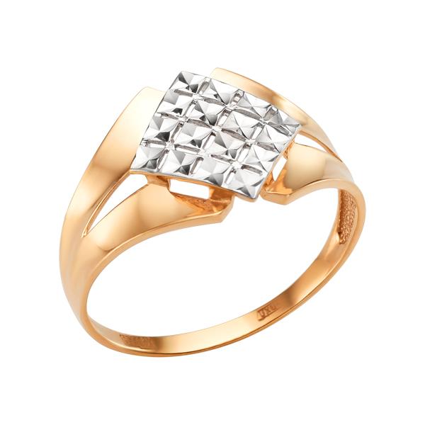 Золотое кольцо с алмазной гранью в виде ромба
