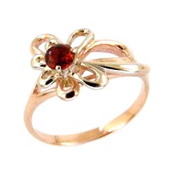 Золотое кольцо с красным фианитом