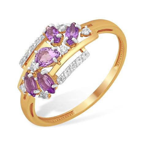 Золотое кольцо с множеством аметистов