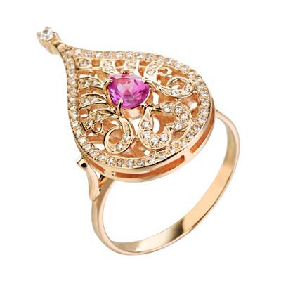 Кольцо из золота с александритом и бриллиантами