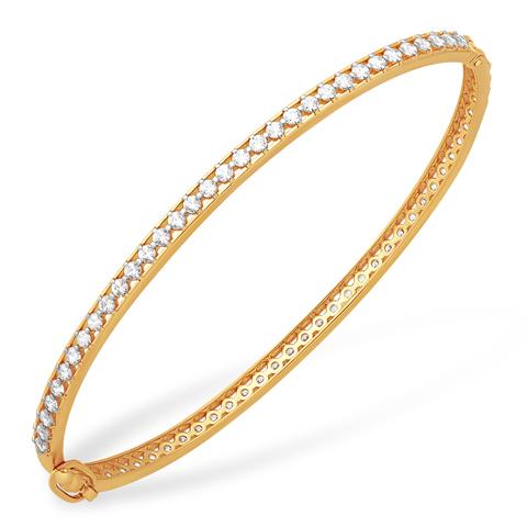 Жёсткий браслет из золота с фианитами