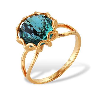 Кольцо из красного золота с кварцем