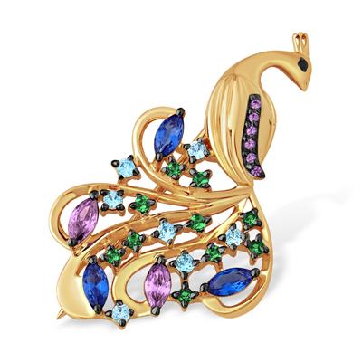 Золотая брошь в виде жар птицы с множеством разноцветных камней