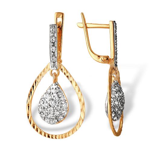 Золотые висячие серьги с фианитами и алмазной гранью