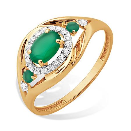 Золотое кольцо с зелёными агатами и фианитами