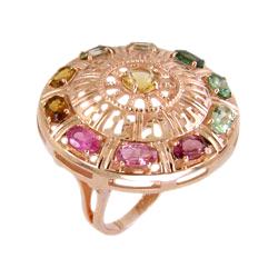 Кольцо из золота с цветными фианитами